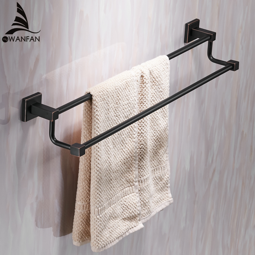 Modern Style Towel Bars Wall-mounted Solid Brass Bath Towel Bar Square Bathroom Double Rail Towel Rack Hardware set Black 601011 aluminum wall mounted square antique brass bath towel rack active bathroom towel holder double towel shelf bathroom accessories