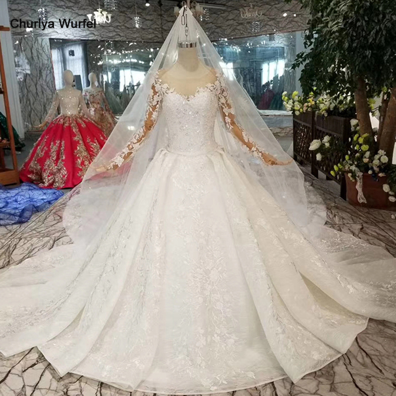 running shoes amazing selection preview of US $611.99 55% OFF HTL086 new fashion wedding dresses European and American  style illusion o neck long tulle sleeve wedding gown with long cape-in ...