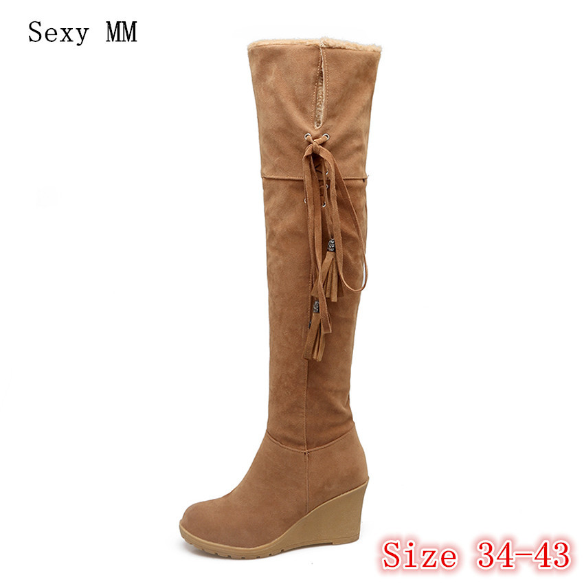 Winter Warm Wedges Snow Boots Women Over the Knee Boots Woman Thigh High Boots Plus Size 34- 40 41 42 43 thigh high over the knee snow boots womens winter warm fur shoes women solid color casual waterproof non slip plush wedges botas