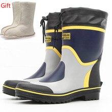 Fashion Men Rubber Rain Boots Warm Wool Mid-Calf Winter Boots Men Platform Shoes Slip on Non-slip Waterproof Rainboots