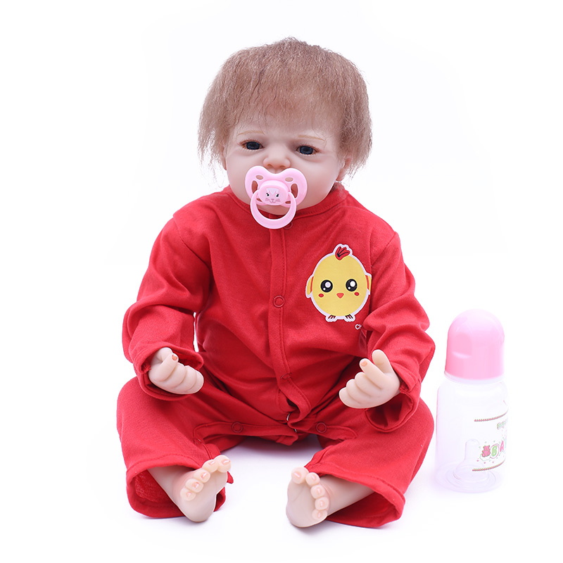 New arrival20inch  50cm silicone limbs and cloth body reborn dolls toddler baby boy with red clothes  silicone reborn baby dolls