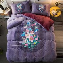 Winter Warm Bedding Set Coral Flannel Four Pieces Thickened Double Faced Velvet Duvet Cover Home Textiles