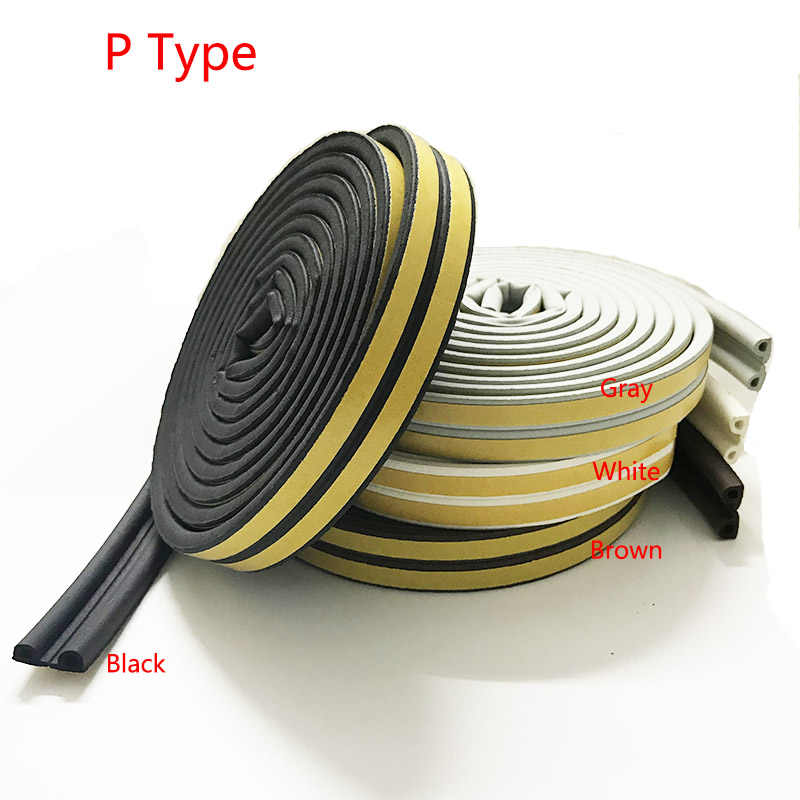 P-Type Self-Adhesive Seal Strip For Window And Doors Soundproofing Collision 5m Home Window Weatherstrip Environmental Protect