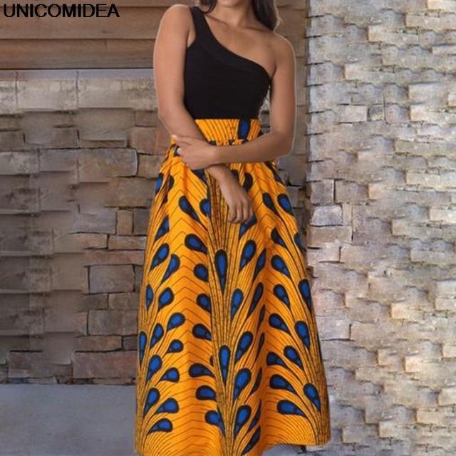aaeac15a872ddc € 12.79 37% de réduction|2019 Maxi Jupe femmes Jupe Longue taille haute  Vintage Longue Jupe élastique africain paon imprimé Slim plissé femmes ...