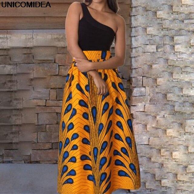 f61540ca2d36b1 2019 Maxi Rok Vrouwen Jupe Longue Hoge Taille Vintage Lange Rok Elastische  Afrikaanse Pauw Print Slim