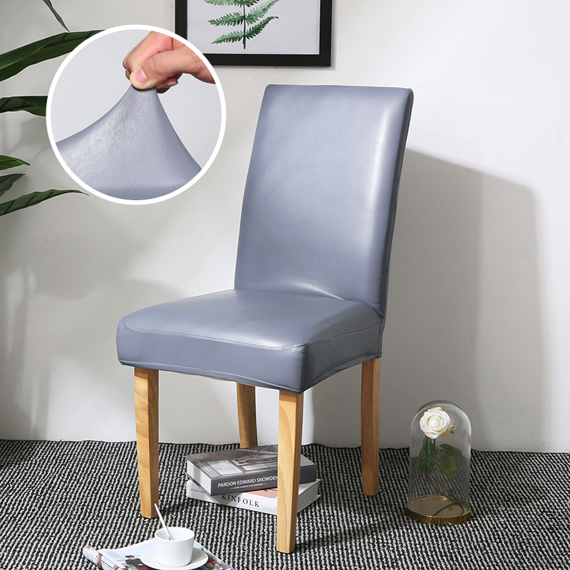 Dining Chair Covers, Solid Pu Leather Waterproof And Oilproof Stretch Dining Chair Protctor Cover Slipcover