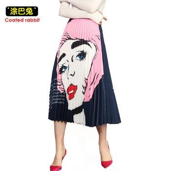 6257b23149 CR primavera verano las faldas de las mujeres 2019 elegante damas alta  cintura de los patrones de impresión Mid-calf paraguas Falda plisada