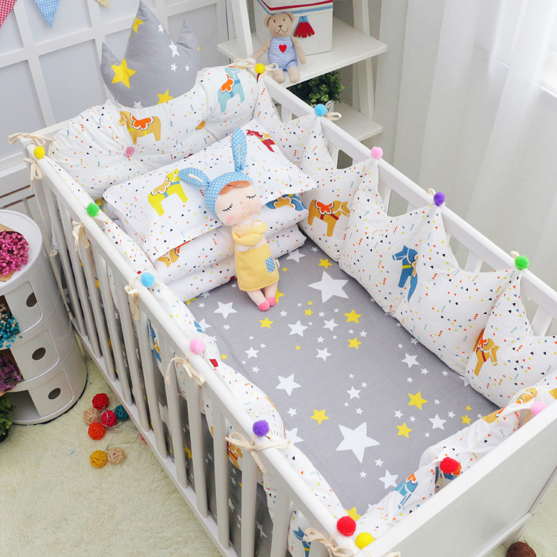 7Pcs Fairy Tale Style Baby Bedding Set Crown Shape Bed Bumpers Toddler Crib Bedding Set Bumpers Bed Sheet Quilt Cover Pillowcase infant bedding set newborn crib bedding set cute milk bottle and cows design with bed sheet quilt cover and pillowcase baby bed