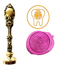 Teeth Vintage Custom Picture Logo Luxury Wax Seal Sealing Stamp Brass Peacock Metal Handle Gift Set