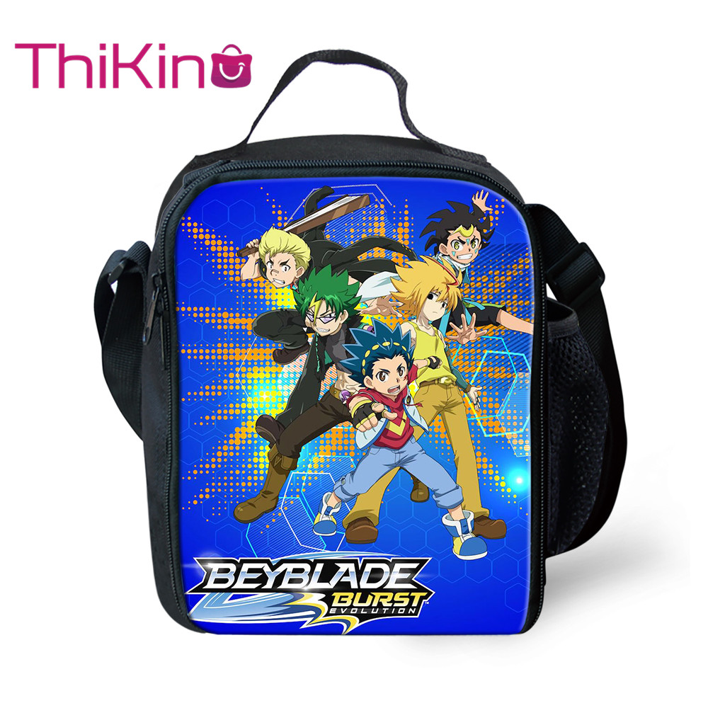 Thikin Casual BEYBLADE Lunch Bags for Teen Boys School Supplies Fashion Portable Cooler Box Cartoon Pattern Tote Picnic Pouch