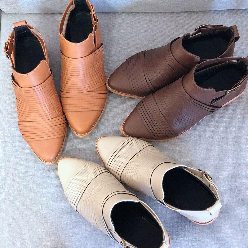 Dark Señaló Botas Modelos Otoño Martin Damas Mujeres Botines beige Cinturón Gruesas tan Hebilla E Invierno Con Brown Nuevas Af410 Zapatos De Las UwEwdpZq