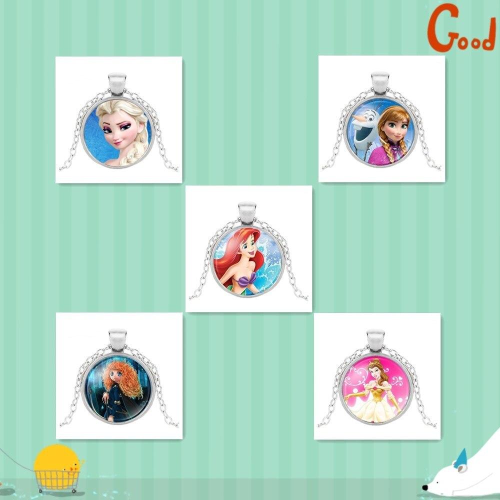 Новая мода популярное женское ожерелье Кристалл ювелирные изделия выпуклая круглая Принцесса Подвеска Ожерелье Девушка