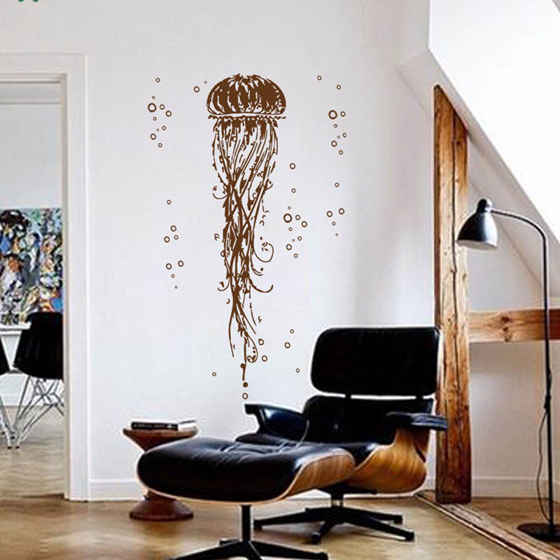 YOYOYU Vinyl Wall Decal Cube Jellyfish In The Ocean Water biological Drops Interior Room Home Decoration Stickers FD254 in Wall Stickers from Home Garden