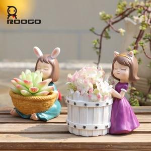 Image 4 - Roogo Bloempot Hars Amerikaanse Stijl Bloempotten Decoratieve Leuke Meisje Vetplanten Planten Pot Voor Huis Tuin Balkon Decoratie