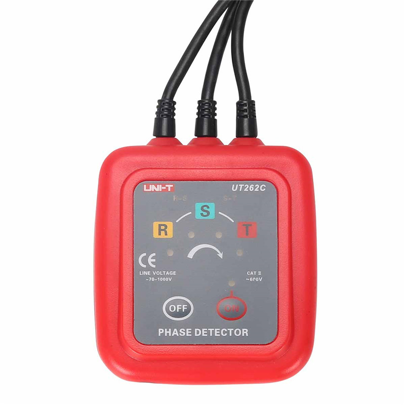 UNI-T UT262A Non-Contact Indicator Detector Meter 3 Phase Sequence Rotation Detectors Tester LED Display Buzzer Range 40Hz-70Hz