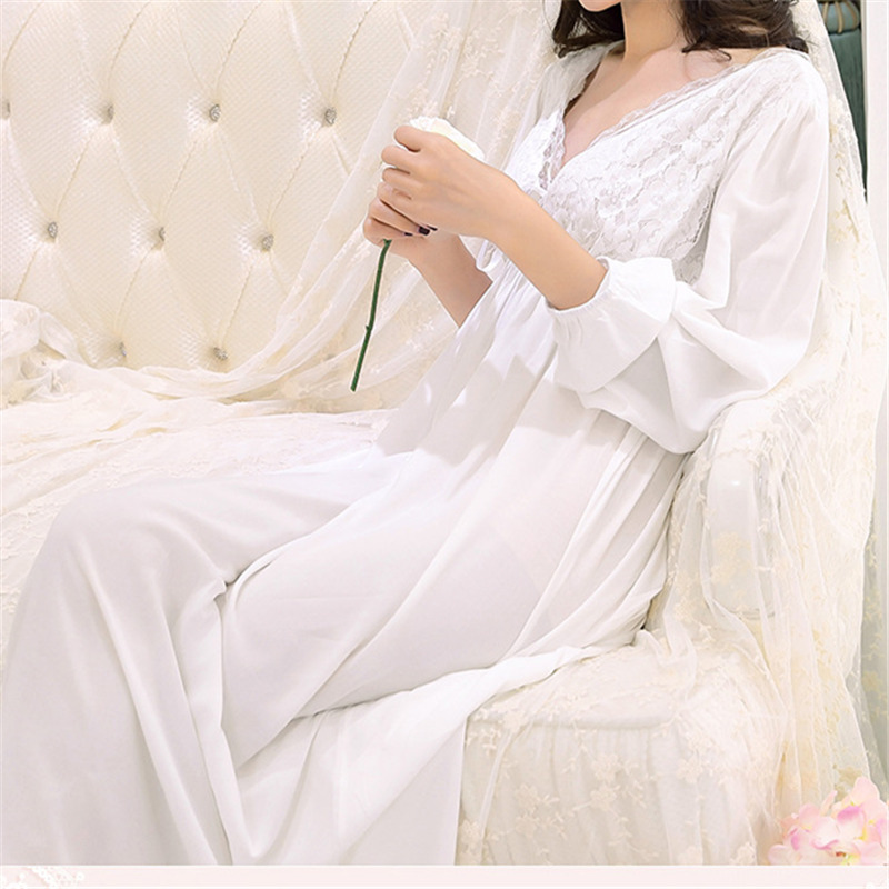 Sexy Lace Lady Sweet Charming Deep V neck Lingerie Sleepwear Dress Solid White Cotton Nightdress Loose Maternity Night Dress T62
