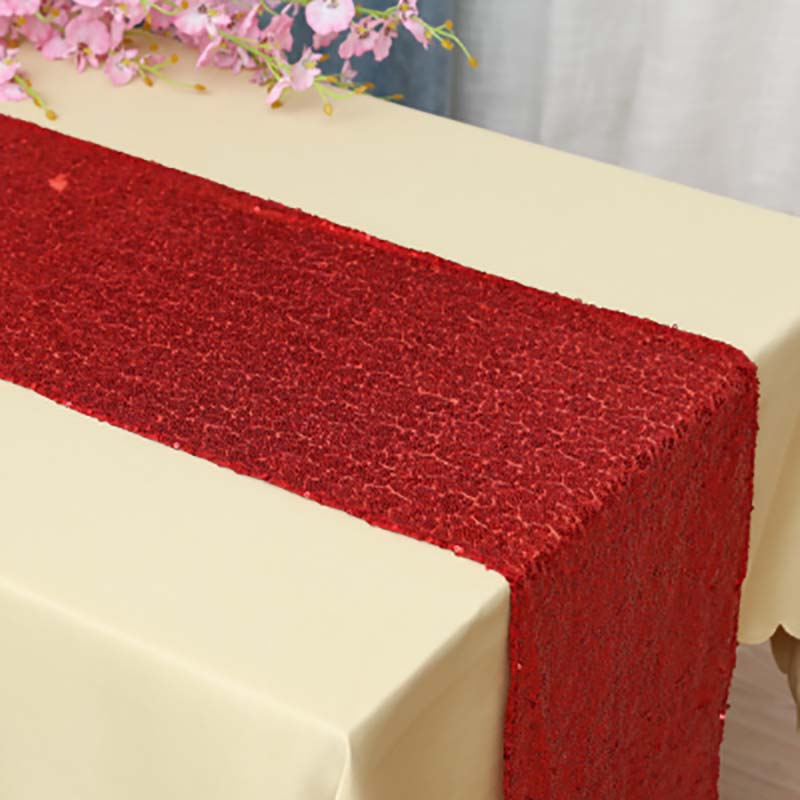 Image 2 - Sequin Table Runner Rose Gold/Silver/Navy/Pink/Red Color Luxury Style Wholesale For Wedding Hotel Dinner Party Decoration-in Table Runners from Home & Garden