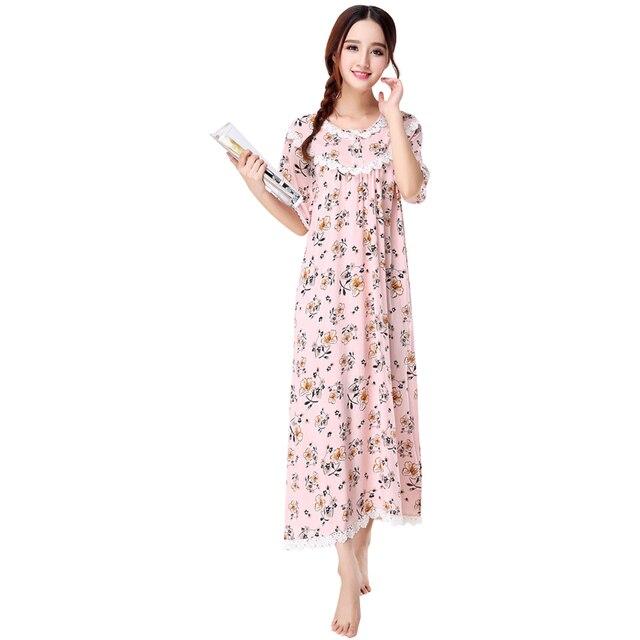 9add98240cc Summer Short Sleeve Female Sleepwear Sleep Dress Printed Nightgown Night  Shirt Cotton Nightdress Casual O-