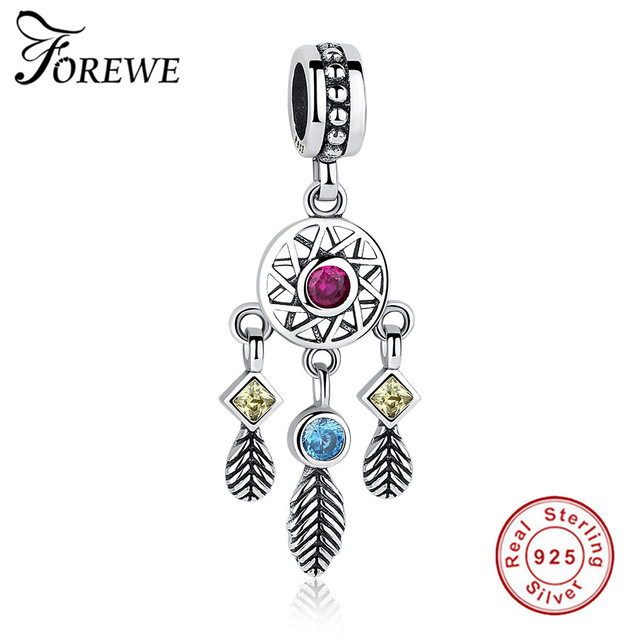 d0f095deb FOREWE Original 925 Sterling Silver Dream Catcher Feather Charm Beads fit Pandora  Charm Bracelet Necklace DIY Jewelry Making