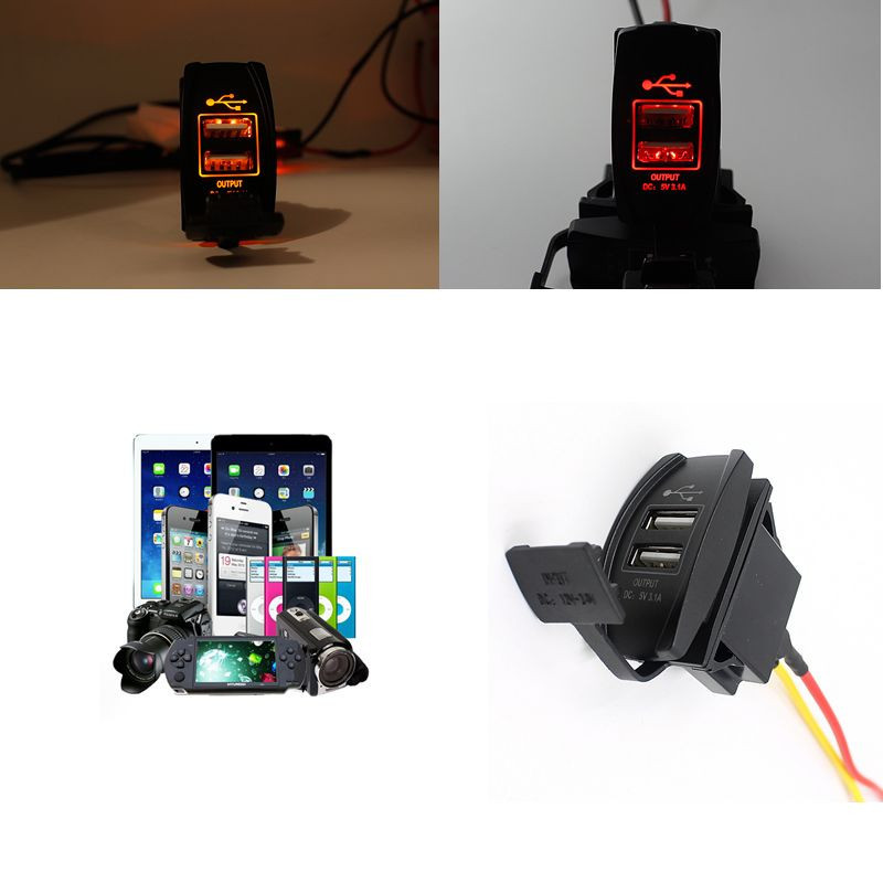 Kongyide Car charger 12V 24V 5V LED To 3.1A Auto Boat Accessory