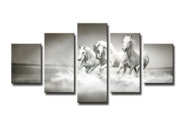 Framed Art High Quality Modern Printed On Canvas Horse Print Painting Wall Living Room
