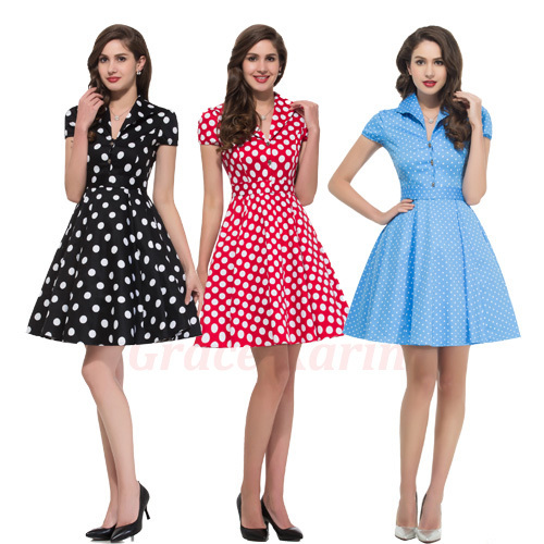 Womens 50s housewife Dress Summer Style Retro Pinup Vintage 1960s Swing Rockabilly Dress 70s ...