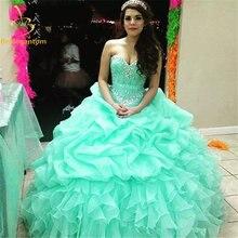 Бальное платье quinceanera недорогие платья из органзы с бусинами