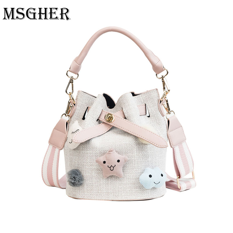 MSGHER Cute Puppets Buckets Women Bow Tie Shoulder Bags 2018 Summer One Shoulder Cossbody Small Bag Female Sweet Shopping Bags ...