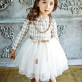 Coréia marca meninas vestidos de inverno 2016 crianças novas do algodão espessamento tule vestido de bens de alta qualidade menina vestido 3-8a