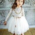 Corea muchachas de la marca vestidos de invierno 2016 nuevo algodón niños engrosamiento tul vestido de mercancías de alta calidad niña vestido 3-8y