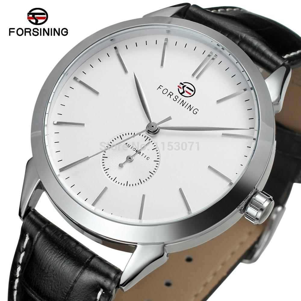 FSG8083M3S3 Forsining watch new automatic silver color round watch with black leathe strap original box for free shipping все цены