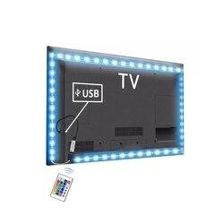 Светодиодная лента, 5 в пост. Тока, с питанием от USB, 2835 RGB/белый/теплый белый, водонепроницаемая светодиодная лента, 1 м, 2 м, 3 м, 4 м, 5 м, подсветка...