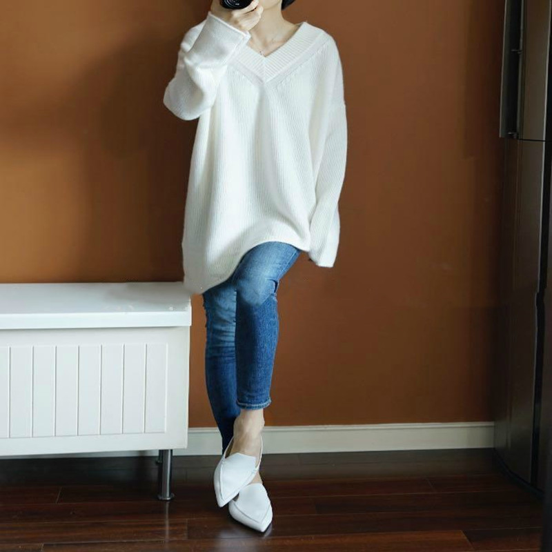 ZEHANGSEA-Winter Cashmere Sweater Female V-neck Irregular Knit Pullover Loose Large Size Long Paragraph Bottoming Shirt-Shipping