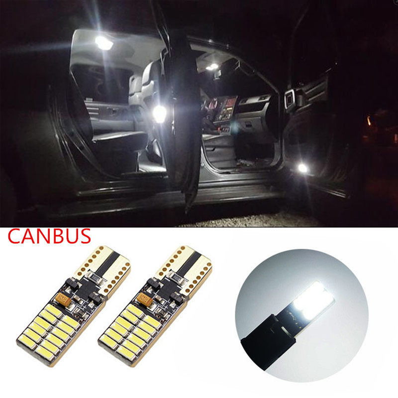 2x T10 194 W5W Canbus 24 SMD 4014 LED Light Bulb No error led parking car styling Fog light Auto lamps White Amber Red Blue