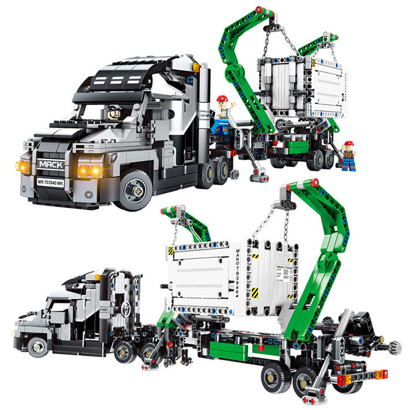 Toys For Children Container Truck Technology Machinery Assembled DIY Building Blocks Boys Birthday Gift Compatible Legoing I64