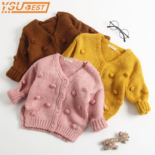 1-3Yrs Baby Girl Sweater Outerwear Coat Child Winter Ball In Hand Down Sweater C