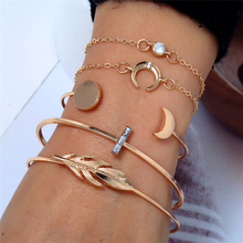 HOCOLE 5pcs/set Bohemian Moon Bracelet Leaves Bracelets Bangle Set for Women Gold Chain Open Adjustable Fashion Jewelry