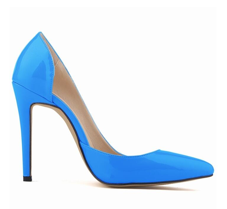Shoes Women High Heels Pumps Flock Pointed Toe Women Pumps Ladies Shoes Thin High Heel Large Size 9 10 43 Blue Purple 23 newest solid flock high heel pumps woman