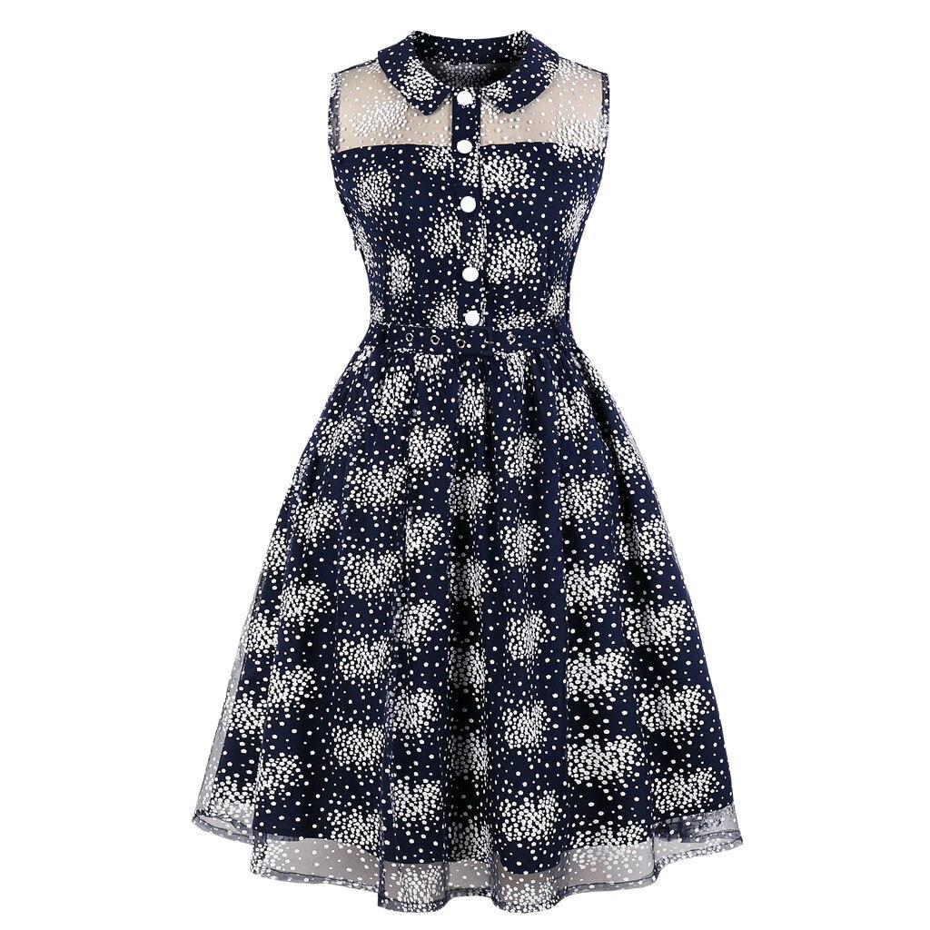 Plus Size Female Retro Vestido De Festa Polka Dot Print Youthful Midi Evening Gown Vintage Peter Pan Sleeveless Swing Dress