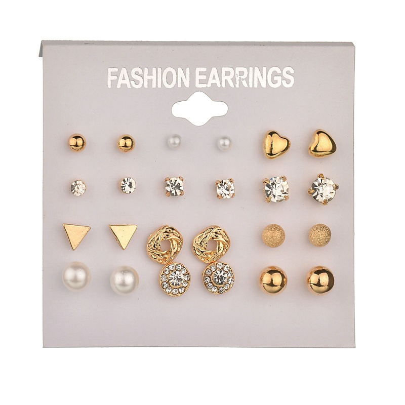 12 pairs/Set Geometric Heart Crystal Stud Earrings for Women Piercing Imitation Pearl Earrings Set Bride Party Gift