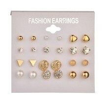 Delicate 12 pairs Women Round Crystal Heart Stud Earrings for Women Piercing Imitation Pearl Earrings Set Wedding Party цена