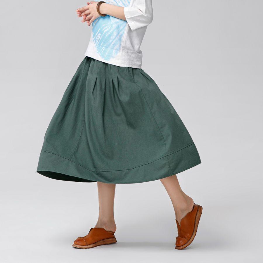 31ca886efa Rokken Vrouwen jupe longue Femme vintage retro Harajuku algodón Lino elástico  cintura delgada una línea plisada mujeres primavera otoño falda