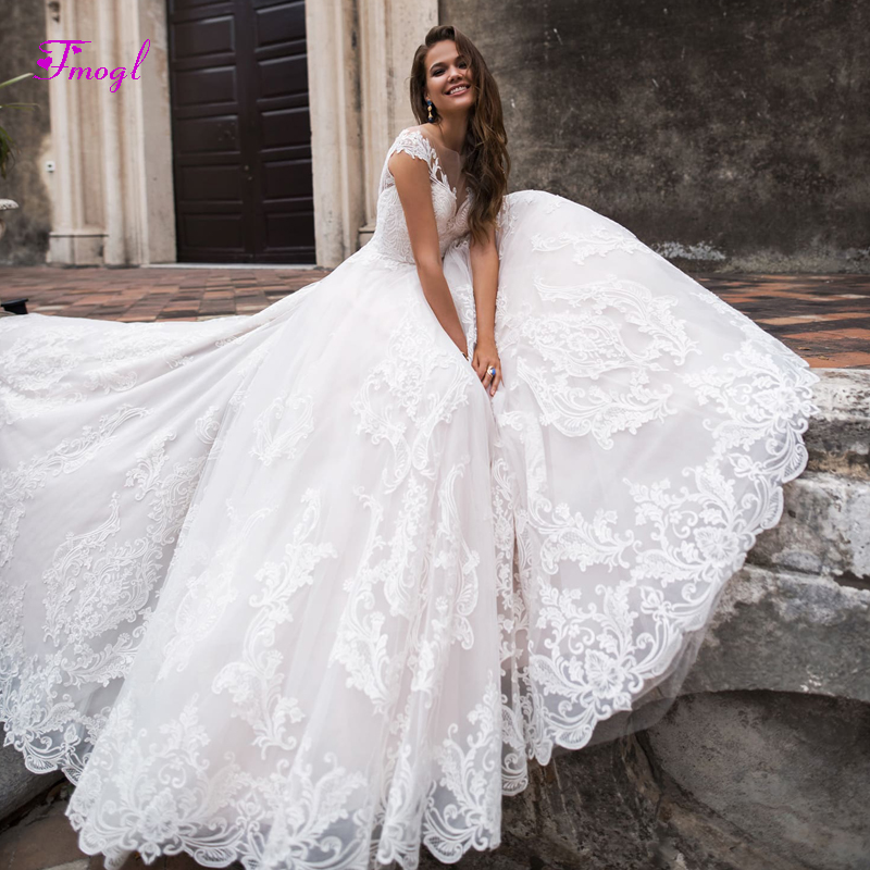 Gorgeous Sweep Train Appliques A Line Wedding Dresses 2019