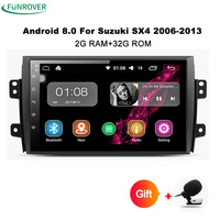 Funrover 9 inch Android 8.0 32GB Rom Car DVD GPS Multimedia Fit for SUZUKI SX4 SX 4 2006 2013 Navigation Stereo Radio tape wifi