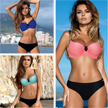 ESSV 2019 New Sexy Bikinis Women Swimsuit High Waisted Bathing Suits Swim Halter Push Up Bikini Set Plus Size Swimwear