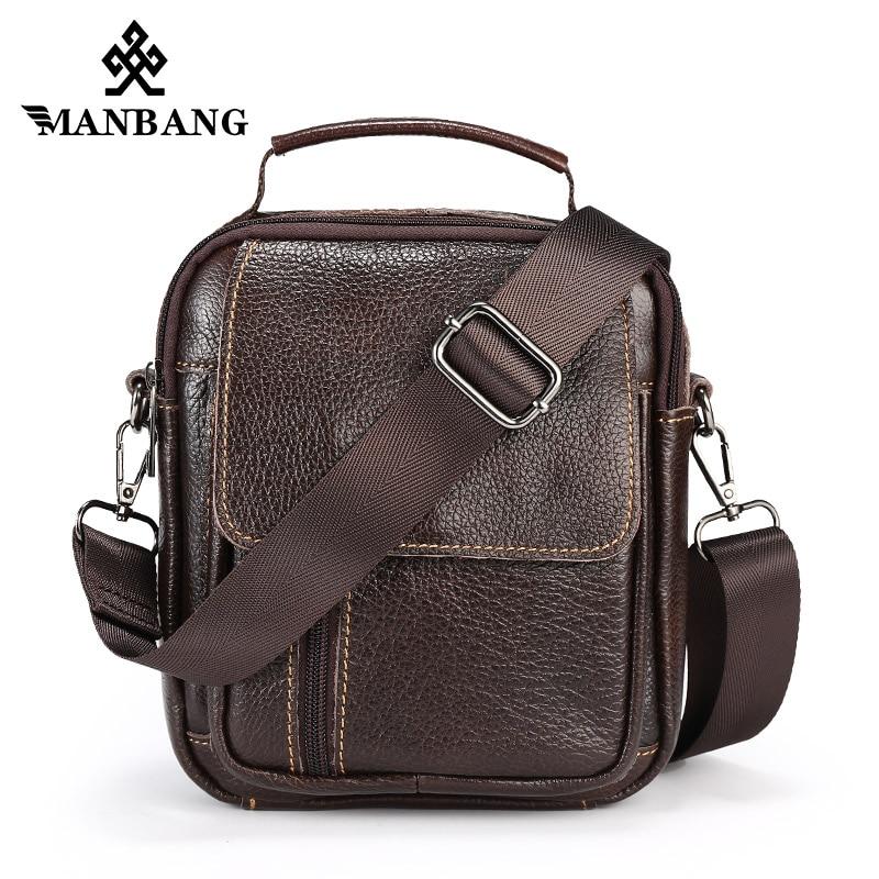 c8d31d807c36 ManBang Hot Genuine Leather Men Messenger bag men s Shoulder bag handbag  Vintage Crossbody Bags male briefcase Leather Bags
