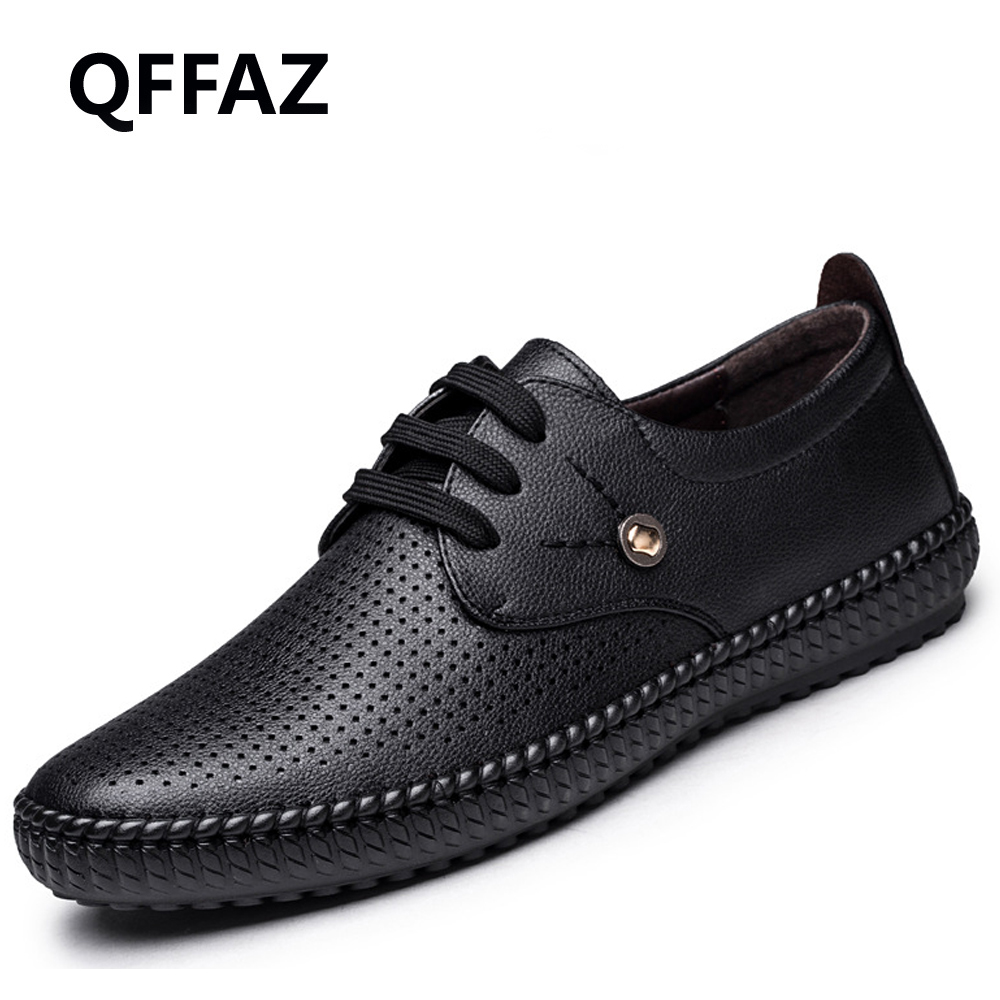 QFFAZ New Summer Genuine Leather Men Shoes Casual Breathable Shoes Leather Shoes Breathable For Male Footwear Men's Flats new 2017 men s genuine leather casual shoes korean fashion style breathable male shoes men spring autumn slip on low top loafers