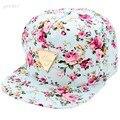 2016 Primavera Quente Unisex Repicado Boné de Beisebol Ajustável do Snapback Plana Hip Hop Chapéu Legal Chapéu Flor Floral Bonito Das Mulheres Dos Homens U2