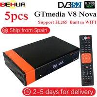6Pcs/lot Gtmedia V8 NOVA same as free sat V9 SUPER DVB S2 satellite receiver Built in wifi support H.265 AVS same as V8 super