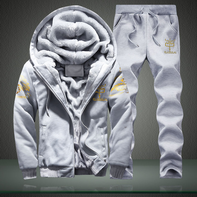 Casual Fleece Hoodies Warm Sweatshirts Tracksuit 2PC Jacket+Pant
